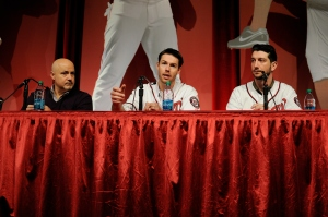 Doug Fister introducing himself at NatsFest, with Jerry Blevins and Mike Rizzo. (Scott Ableman, FLICKR)