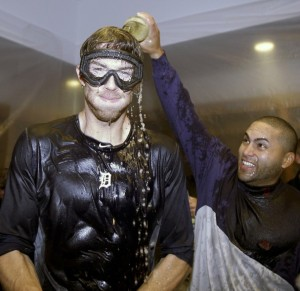 Fister celebrating in the clubhouse after defeating the Yankees in the ALDS (CBSSports)