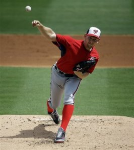 Strasburg throws a pitch in his dominant performance against Miami last week.