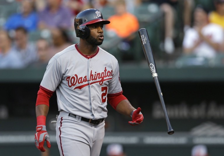 Denard Span flips his bat in frustration after not getting on base once again (C/O Patrick Semansky AP)
