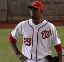 Soriano stands after blowing a save against Los Angeles.
